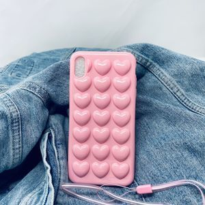 iPhone XS Max Case Soft Pink 3D Heart